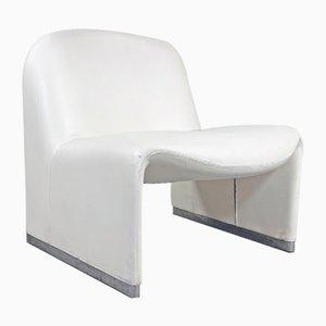Alky White Lounge Chair by Giancarlo Piretti for Castelli / Anonima Castelli, 1970s