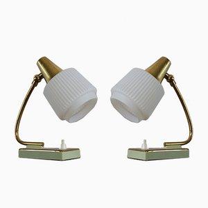Mid-Century Tischlampen in Mintgrün, 2er Set