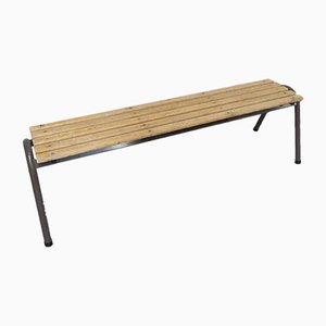 Industrial Slatted School Bench, 1960s