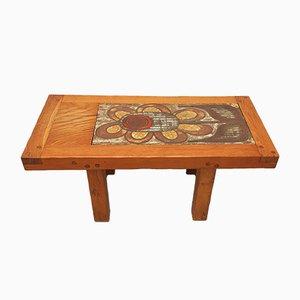 Mesa de centro de madera y cerámica, años 70