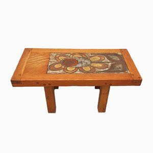 Tavolino da caffè in legno e ceramica, anni '70