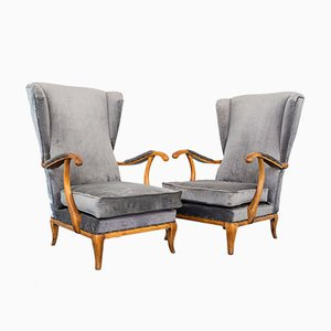 Walnut and Velvet Lounge Chairs by Paolo Buffa, 1950s, Set of 2