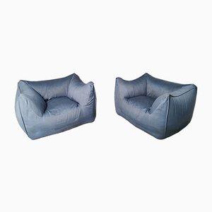Italian Light Blue Armchairs by Mario Bellini for B&B Italia / C&B Italia, 1976, Set of 2