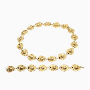 Collar y brazalete de plata 925 de Margot de Taxco, años 40. Juego de 2