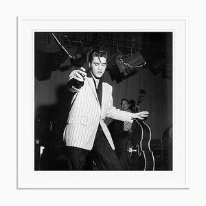 Elvis Presley Silver Gelatin Resin Print Framed in White by Michael Ochs
