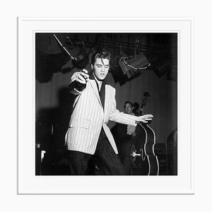 Stampa Elvis Presley in resina gelatinosa argentata bianca di Michael Ochs