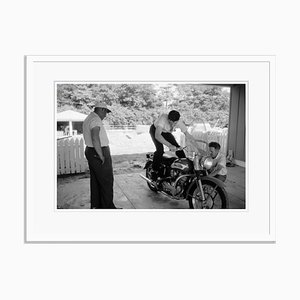 Elvis and His Harley Archival Pigment Print Framed in White by Phillip Harrington