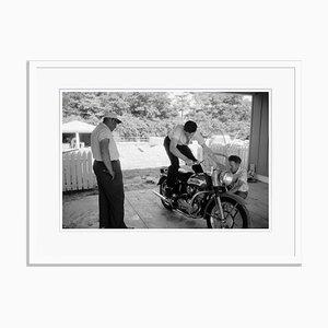 Elvis and His Harley Archival Pigment Print in Weiß von Phillip Harrington gerahmt