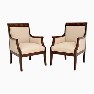 Antique Swedish Inlaid Armchairs, Set of 2
