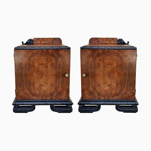 Art Deco Ebonized Nightstands, 1930s, Set of 2