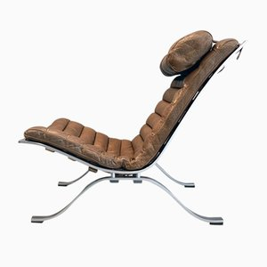 Vintage Scandinavian Brown Leather & Steel ARI Lounge Chair by Arne Norell for Arne Norell AB