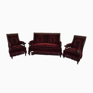 Walnut Living Room Set, Set of 3
