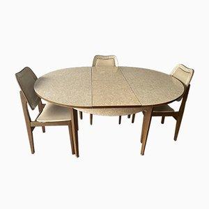 Mesa de comedor extensible británica Mid-Century y sillas. Juego de 5