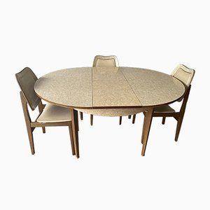 Mid-Century British Extendable Dining Table & Chairs, Set of 5