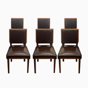 Art Deco Elm, Maple & Leatherette Dining Chairs, 1940s, Set of 6