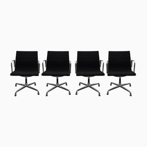 Black & Aluminium EA 108 Swivel Armchairs by Eames for Vitra, 2000s, Set of 4