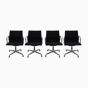 Black & Aluminium EA 108 Swivel Armchairs by Eames for Vitra, 2000s, Set of 4