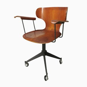 Wooden Swivel Chair in Teak and Plywood by Carlo Ratti for Legni Curvati, 1950s