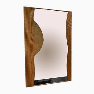 Specchio in vimini di Vivai Del Sud, Italia, anni '70