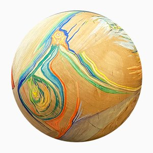 Italian Hand-Painted Solid Wood Decorative Sphere with Abstract Decoration, 1970s