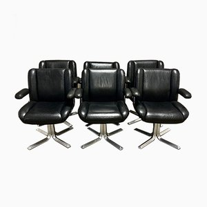 Black Leather & Aluminium Lounge Chair, 1960s