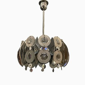 Large Chrome & Glass Lens Chandelier by Oscar Torlasco, 1970s