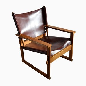 Mid-Century Danish Oak & Dark Brown Leather Safari Armchair by Poul Hundevad for Vamdrup