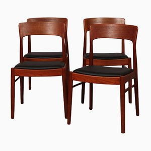 Danish Teak & Leatherette Dining Chairs by Henning Kjaernulf for K/S Mobelfabrik, 1960s, Set of 4
