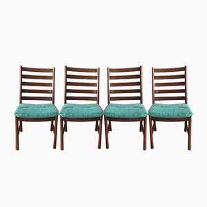 Large Mid-Century Danish Teak Dining Chairs from JS-S, Set of 4