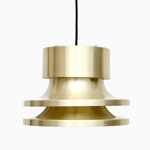 Vintage Danish Golden Brass Ceiling Lamp, 1970s