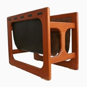 Teak & Suede Leather Magazine Rack by Aksel Kjersgaard, 1960s