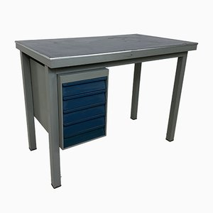Industrial Metal & Linoleum Desk from Gispen, 1950s