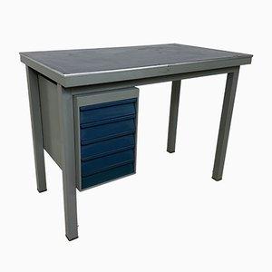 Industrieller Schreibtisch aus Metall & Linoleum von Gispen, 1950er