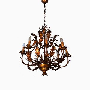 Mid-Century Gilt Tole Chandelier by Hans Kögl