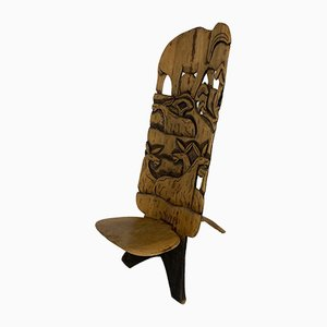 African Hand Carved Tribal Chair, 1960s