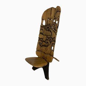 Silla tribal africana tallada a mano, años 60