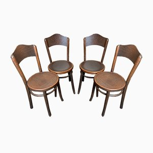 Vintage Alligator Patterned Dining Chairs by Thonet for Fischel, Set of 4