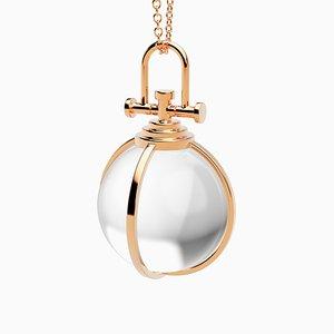 Collar de amuleto de oro rosa macizo sagrado moderno de 18 quilates con cristal de roca transparente natural de Rebecca Li