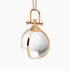Modern Sacred 18k Solid Rose Gold Crystal Orb Amulet Necklace with Natural Clear Rock Crystal by Rebecca Li