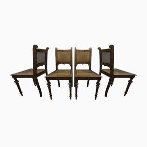 Antique Art Nouveau Walnut Side Chairs, Set of 4