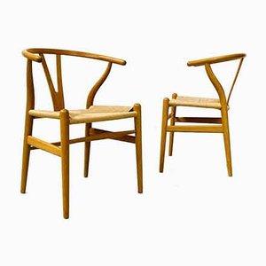 Danish Oak CH24 Wishbone Chairs by Hans J. Wegner for Carl Hansen & Søn, 1990s, Set of 2