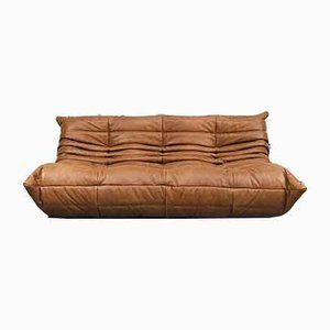 Vintage French Dark Cognac Leather Sofa by Michel Ducaroy for Ligne Roset.