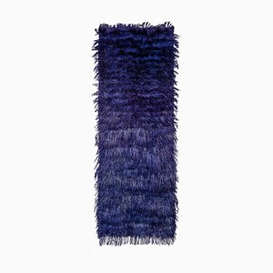 Angora Wool Blue Color Shaggy Rug Runner