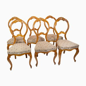 Rococo Dining Room Chairs in Light Mahogany, 1760s, Set of 6