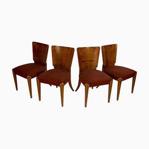 Art Deco Modell H-214 Esszimmerstühle von Jindrich Halabala für Up Závody, 4er Set