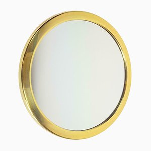 Specchio Hollywood Regency vintage in ottone e oro, anni '70