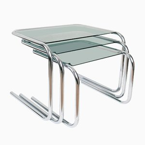 Chrome and Glass Nesting Tables, 1970s