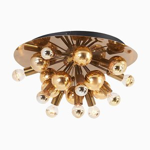 Large Sputnik Space Age Flush Mount or Wall Lamp in Brass from Cosack
