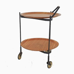 Teak and Metal Foldable Serving Trolley Bar Cart from Ary Fanerprodukter Nybro, Sweden, 1950s