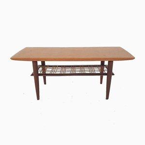 Teak and Rattan Coffee Table Attributed to Louis Van Teeffelen for Webe, 1950s